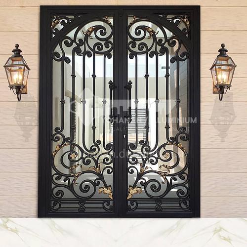 T Hot-dip galvanized European style wrought iron gate courtyard gate wrought iron gate villa gate home outdoor double door garden gate 7