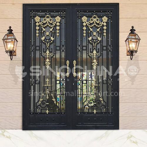 T Hot-dip galvanized European style wrought iron gate courtyard gate wrought iron gate villa gate home outdoor double door garden gate 9