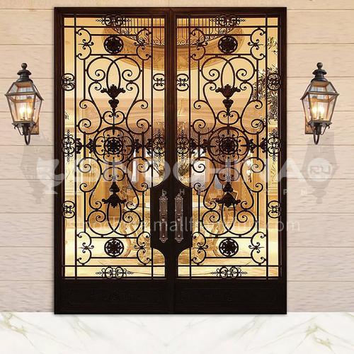 T Hot-dip galvanized European style wrought iron gate courtyard gate wrought iron gate villa gate home outdoor double door garden gate 10