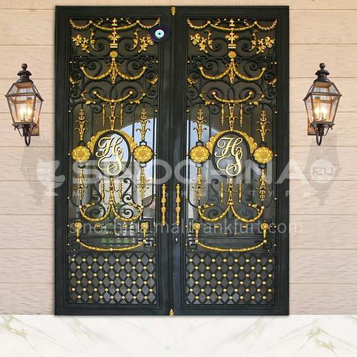 T Hot-dip galvanized European style wrought iron gate courtyard gate wrought iron gate villa gate home outdoor double door garden gate 11