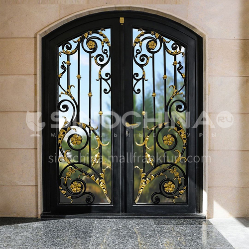 T curved gate hot-dip galvanized European style wrought iron gate courtyard gate wrought iron gate villa gate home outdoor double door garden gate 3