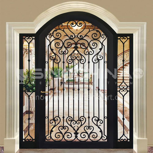 T curved gate hot-dip galvanized European style wrought iron gate courtyard gate wrought iron gate villa gate household outdoor double door garden gate 2