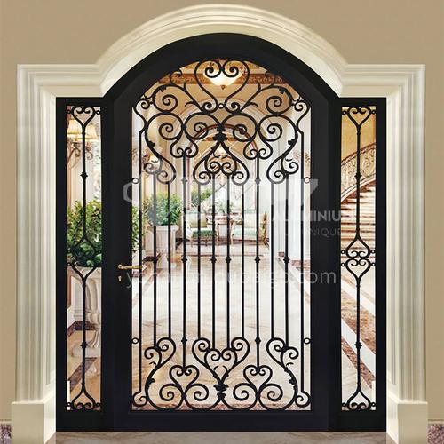 T curved gate hot-dip galvanized European style wrought iron gate courtyard gate wrought iron gate villa gate household outdoor double door garden gate 2