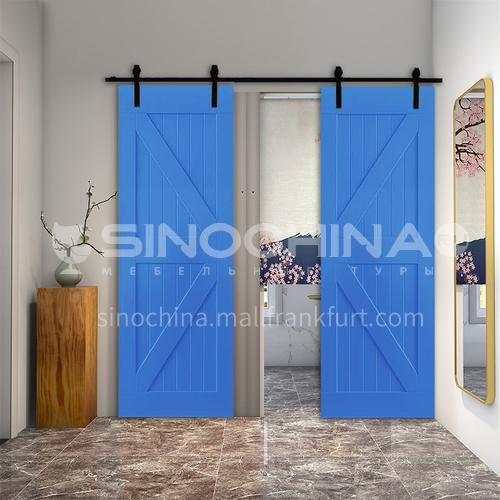 R blue color new design simple and modern style kitchen barn door dressing room sliding door 15