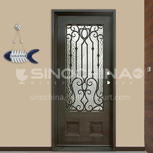 T Hot-dip galvanized European style wrought iron gate courtyard gate wrought iron gate garden gate 8