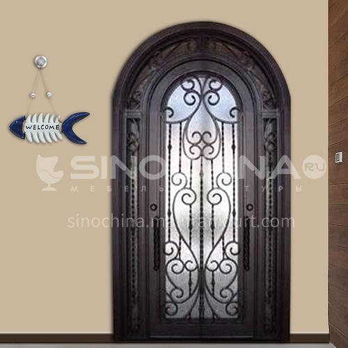 T curved hot-dip galvanized European style wrought iron gate courtyard gate wrought iron gate garden gate 9