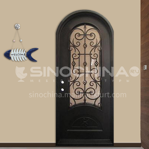 T Hot-dip galvanized European style wrought iron gate courtyard gate wrought iron gate garden gate 10