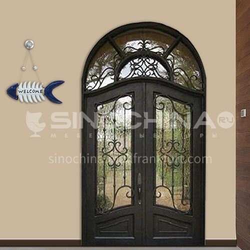 T curved hot-dip galvanized European style wrought iron gate courtyard gate wrought iron gate garden gate 11