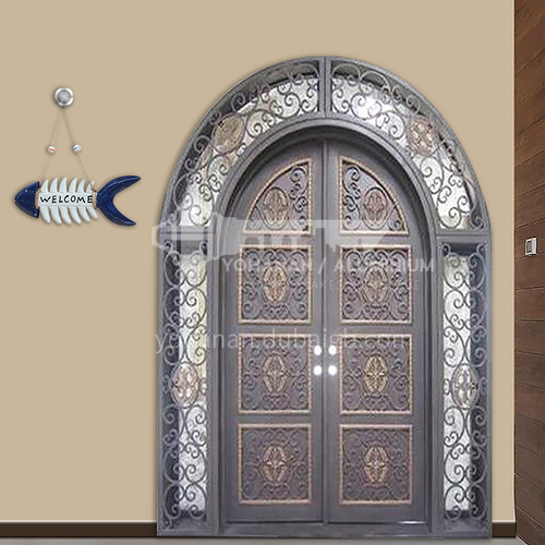 T curved hot-dip galvanized European style wrought iron gate courtyard gate wrought iron gate garden gate 12