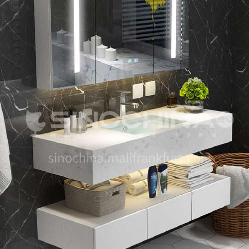 Bathroom cabinet combination bathroom gargle table modern contracted marble toilet wash face wash basin cabinet 1.4m YQ-1-8
