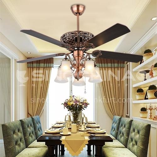American dining room ceiling fan light, living room bedroom retro Nordic stealth fan light-DSYF-SLY1003