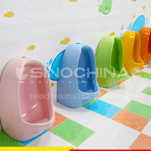 Children colorful urinals yellow pink yellow green white blue orange