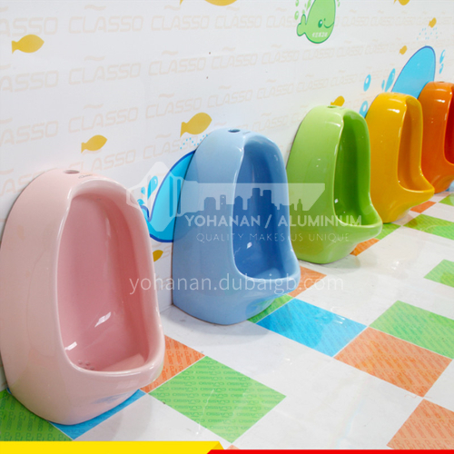 Children colorful urinals yellow pink yellow green white blue orange