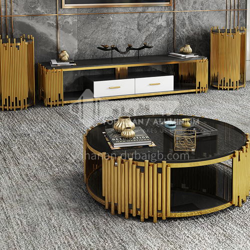 BE-1501-Living room light luxury stainless steel glass stainless steel marble coffee table TV cabinet