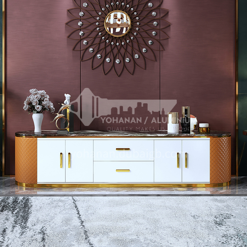 BE-BX002 Living room luxury stainless steel marble TV cabinet