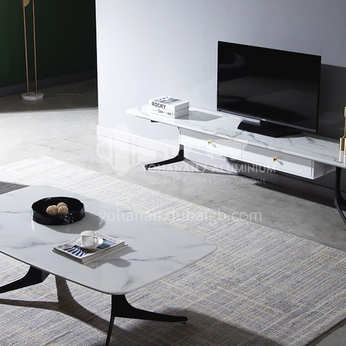 BE-BX006-Living room light luxury plain carbon steel marble coffee table