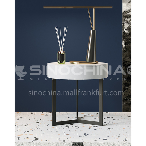 LP-GN029- Fashion, leisure, light luxury style, hardware iron frame, piano painting surface, light luxury bedside table
