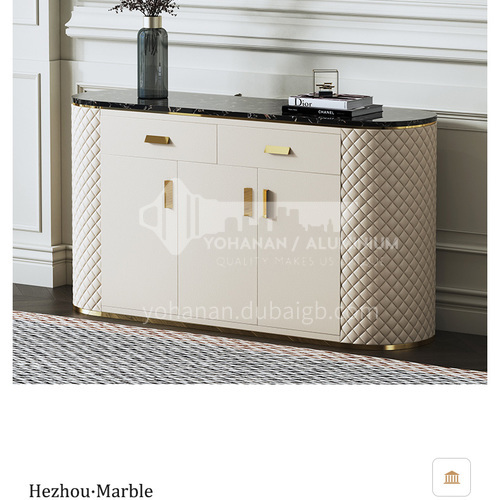 LP-GS017 Restaurant marble surface + PU leather + MDF solid wood drawer side cabinet