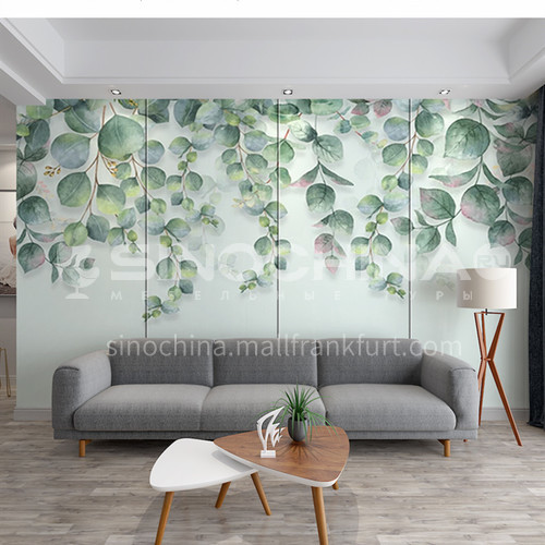 Customized 3D fresh green leaves style Background Wall BGW081