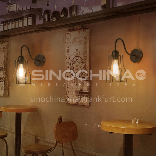 Industrial style wall lamp American retro wall lamp personality creative aisle bar clothing shop coffee shop wall lamp WYN-1612-B1