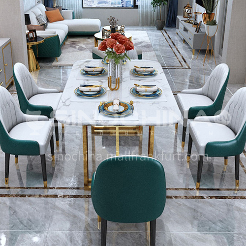BE-BX001 Restaurant Light Luxury Metal Tripod Marble Countertop Dining Table