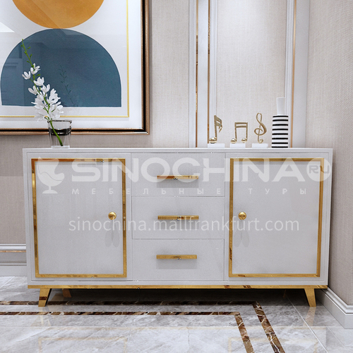 BE-BX001 Sideboard Dining room light luxury metal frame tempered glass sideboard