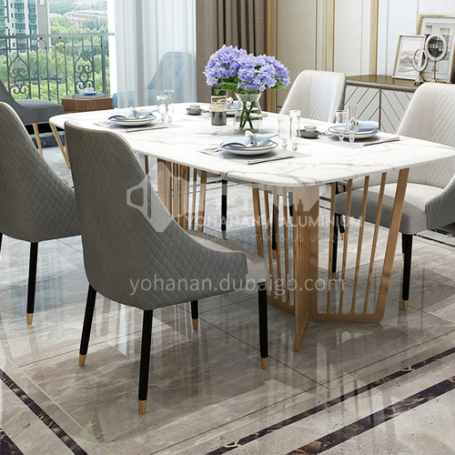 BE-BX002 Restaurant Light Luxury Metal Tripod Marble Countertop High-end Dining Table