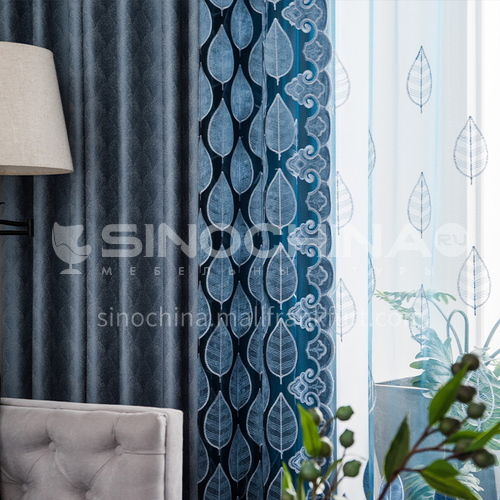 Classic style embroidery flower multicolor stitching high quality blackout curtain DFSK-CXPJ89