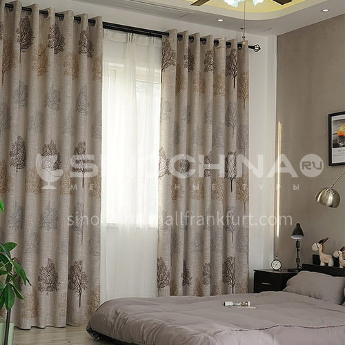 Curtain finished simple modern style cotton and linen texture leaf pattern high quality curtain DFSK-FCS73