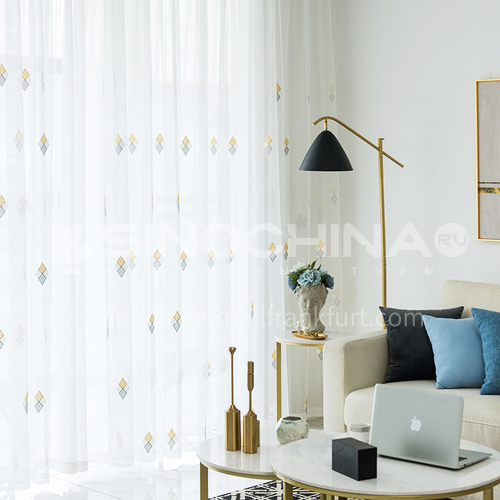 Nordic minimalist modern style high quality white embroidery window screen DFSK-LXS25