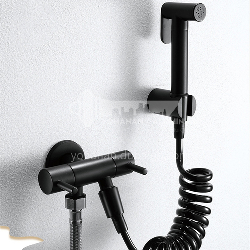 Black household hot and cold spray gun high pressure nozzle flushing toilet bathroom