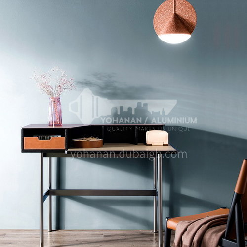 og-DK03 bedroom plywood, black red oak leather, stainless steel black titanium plated, high-quality saddle leather dressing table
