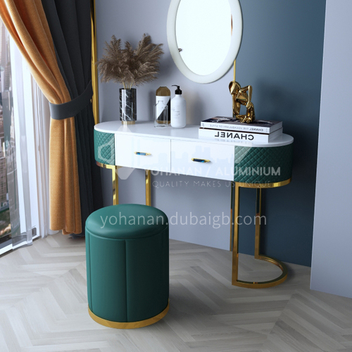 BE-BX001- Light luxury simple fashion style, stainless steel table legs, high-quality leather, light luxury dressing table