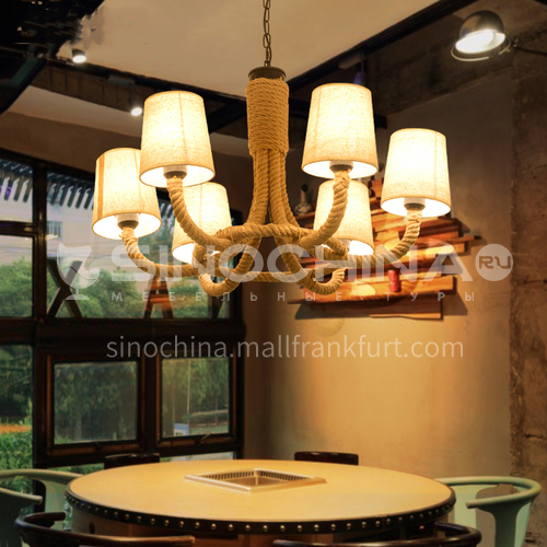 American country retro nostalgic industrial style creative dining room living room bedroom twine chandelier WYN-6118-D8
