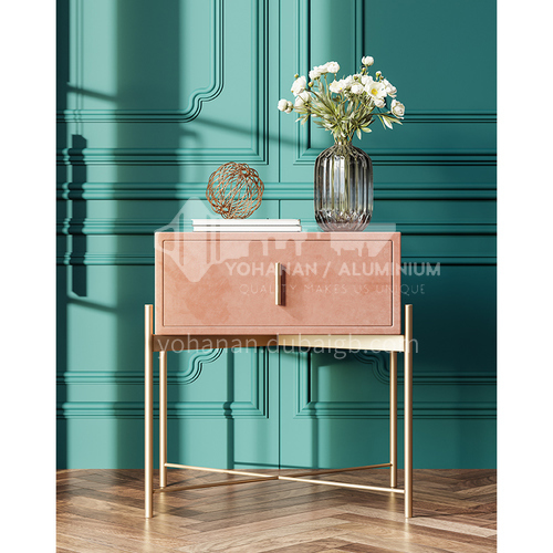 LP-C01- Light luxury, fashionable and simple style, 304 stainless steel table legs, solid wood drawers, light luxury and simple bedside table