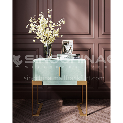 LP-C02- Light luxury, fashion and simple style, 304 stainless steel table legs, solid wood drawers, light luxury and simple bedside table