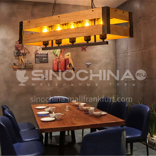 American country retro nostalgic industrial style restaurant lamps creative personality bar table man cafe wooden chandeliers WYN-7895-D5