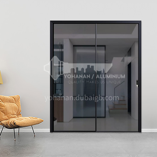 2.0mm modern minimalist style aluminum alloy extremely narrow gray glass sliding door3