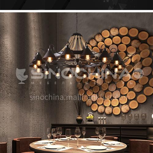 American country retro hemp rope large chandelier restaurant living room hotel lobby lamp villa duplex building industrial wind chandelier WYN-8118-D17