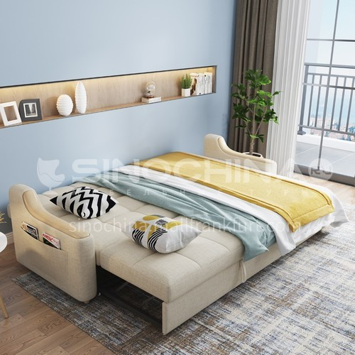 HS-H62 Nordic multifunctional fabric solid wood foldable sofa bed dual purpose double single small apartment living room economy type
