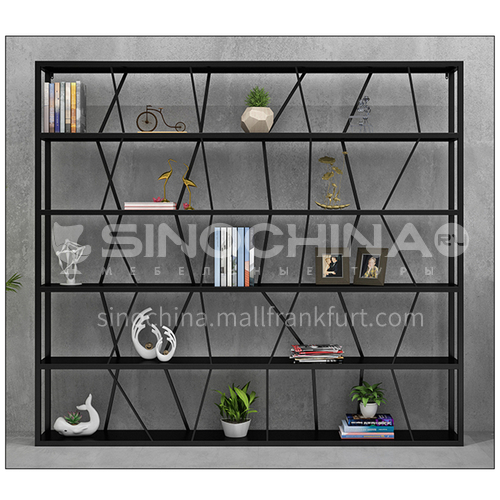Steel Irregular staggered Black Rack Bookshelf