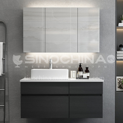 Classic black plywood paint free wall mounted bathroom cabinet OG1007
