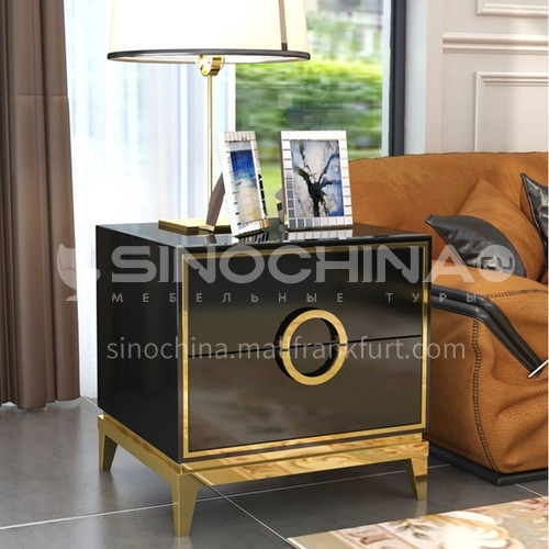 BC-B610- Post-modern, light luxury and simple style, black and white bright paint, stainless steel gilding, bedroom storage cabinets, light luxury and simple bedside table