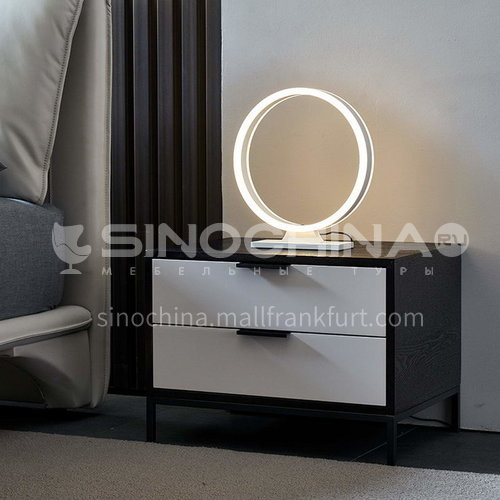 BC-B615- Postmodern light luxury and simple style, black and white bright paint, stainless steel gilding, bedroom storage cabinets, light luxury and simple bedside table