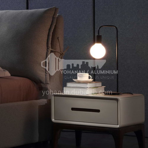 BC-B619- Postmodern light luxury and simple style, black and white gloss paint, solid wood feet, bedroom storage cabinet, light luxury and simple bedside table