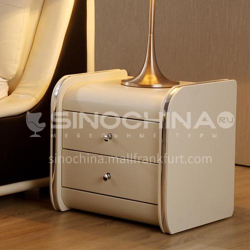 BC-B656- Postmodern light luxury minimalist style, solid wood drawers, stainless steel gilded decoration, bedroom storage cabinets, light luxury minimalist bedside tables