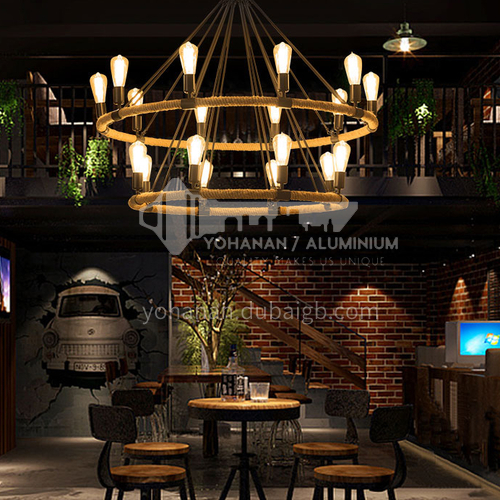 American country retro hemp rope large chandelier living room dining room lobby lamp villa duplex building wrought iron industrial style chandelier WYN-8118-D18