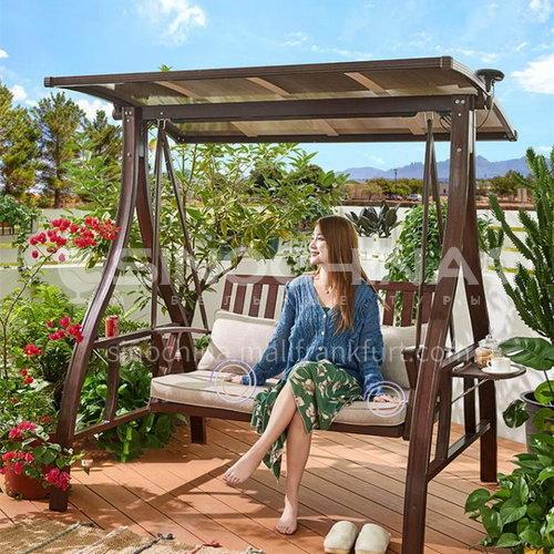 JOZL-283A Outdoor swing courtyard garden villa hanging chair woven rattan sun board swing (canopy fabric) + iron material