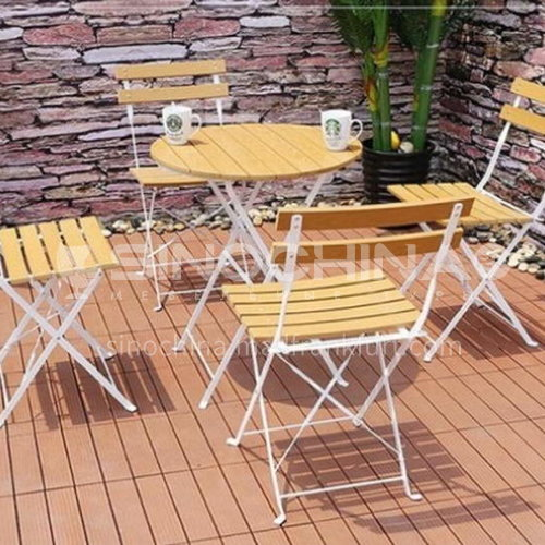 MSSM-PS035,36,58,80 Outdoor table and chair courtyard terrace villa high-grade teak color folding table + teak color folding chair + multiple material options