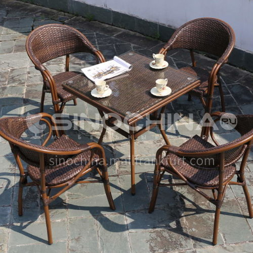 MSSM-style outdoor leisure tea table/aluminum tube+tempered glass+rattan double-sided